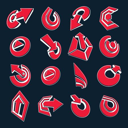 six point: Vector dimensional business and corporate graphic symbols collection. Set of red arrows and different simple design elements.