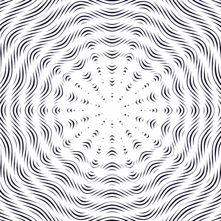moire: Moire pattern, monochrome vector background with trance effect. Optical illusion, creative black and white graphic backdrop.