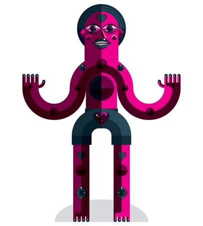 weirdo: Cubism theme vector graphic illustration, modernistic symbol. Geometric cartoon character, mythic creature or shaman. Colorful drawing of  pagan idol.