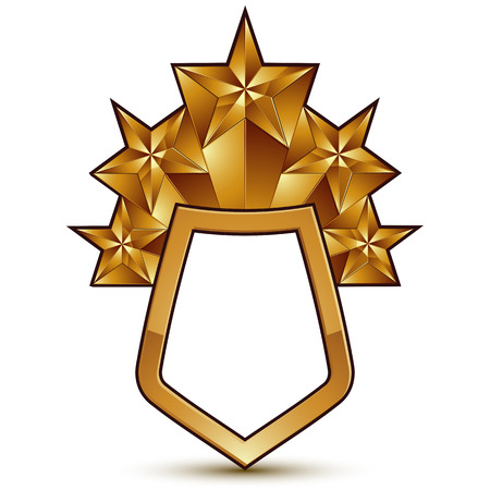 3d heraldic vector template with polygonal golden star, dimensional royal geometric blazon isolated on white background. Complicated glossy symbol.