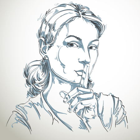 hush hush: Artistic hand-drawn vector image, black and white portrait of delicate stylish girl making a hush gesture with her finger close to mouth. Emotions theme illustration. Be quiet idea. Illustration