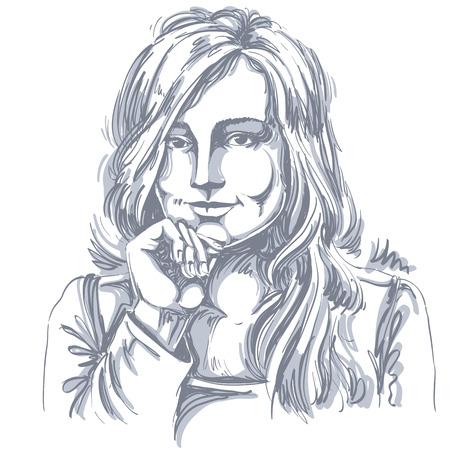 hot temper: Artística imagen del vector dibujado a mano, retrato en blanco y negro de coquetear chica de rasgos delicados. Las emociones ilustración del tema. Vectores