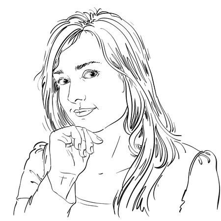 hot temper: Vector el dibujo del arte, retrato de ni�a preciosa flirteo aislado en blanco. Las expresiones faciales, las personas emociones positivas.