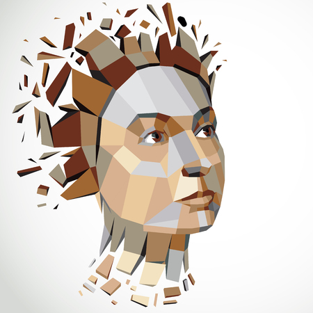 3d vector illustration of human head created in low poly style. Face of pensive female, smart personality. Intelligence allegory, artistic deformed object broken into splinters and fragments. 矢量图像