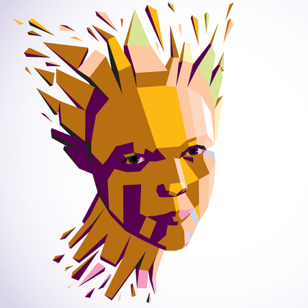 breaks: Smart person concept, human head exploding and breaks into multiple fractures. Human mind metaphor. Dimensional vector illustration of thoughtful woman face created in low poly modernized style. Illustration