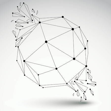 demolished: Perspective technology demolished transparent shape with black lines and dots connected, polygonal wireframe object. Explosion effect, abstract faceted orb element cracked into multiple fragments. Illustration