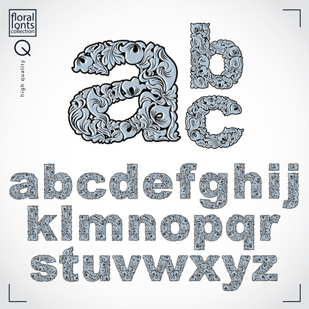 sans: Floral alphabet sans serif letters drawn using abstract vintage pattern, spring leaves design. Black and white vector font created in natural eco style. Illustration
