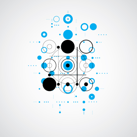 bauhaus: Bauhaus retro wallpaper, art vector blue background made using grid and circles. Geometric graphic 1960s illustration can be used as booklet cover design.
