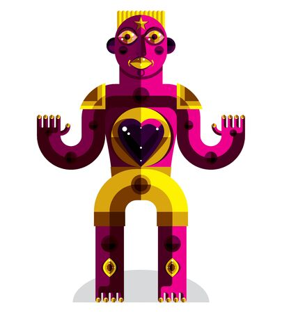 odd: Flat design drawing of odd character, art picture made in cubism style. Vector colorful illustration of spiritual totem isolated on white, chakra.