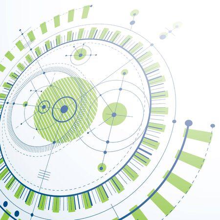 dibujo tecnico: Dibujo técnico realiza mediante líneas de puntos y círculos geométricos. Papel pintado verde de la perspectiva del vector creado en el estilo de la tecnología de las comunicaciones, el diseño del motor 3d. Vectores