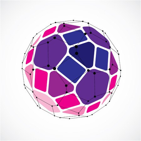 facets: 3d vector digital wireframe spherical object made using facets. Geometric polygonal purple ball created with lines mesh and pentagons. Low poly shape, lattice form for use in web design.