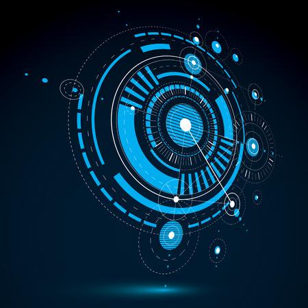 Dessin technique faite en utilisant des lignes en pointillés et des cercles géométriques. Bleu vecteur perspective papier peint créé dans le style de la technologie des communications, la conception 3D du moteur.