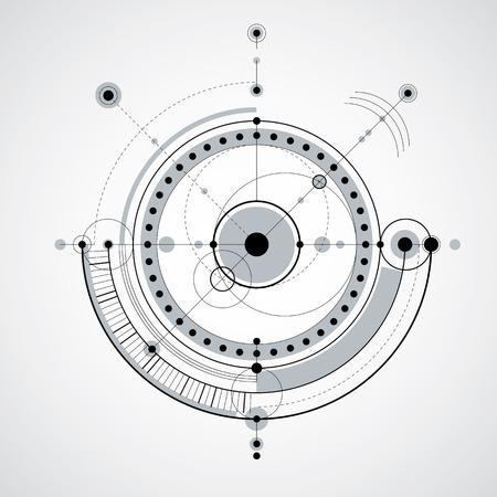 ingegneria Vector background tecnologico, futuristico piano tecnico, il meccanismo in bianco e nero. schema meccanico, astratto disegno industriale può essere utilizzato come sfondo sito web.