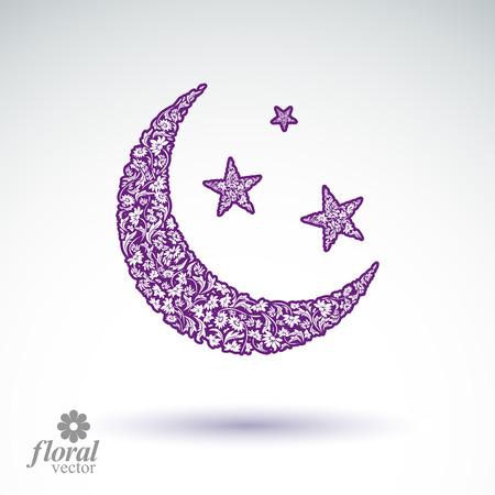 starlit: New Moon placed on a starry sky beautiful art illustration, flowery lullaby stylized icon, sleep time idea. Floral-patterned moony night image, can be used in advertising and web design. Illustration