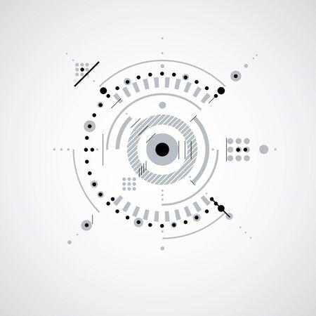 Dessin technique faite en utilisant des lignes en pointillés et des cercles géométriques. papier peint vecteur Monochrome créé dans le style de la technologie des communications, la conception du moteur.