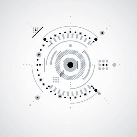 communications technology: Technical drawing made using dashed lines and geometric circles. Monochrome vector wallpaper created in communications technology style, engine design.