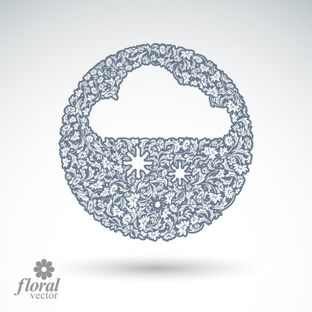 cloudburst: Winter snowing cloud with snowflakes, vector weather forecast simple pictogram. Flowery graphic weather conditions icon, design season image. Illustration
