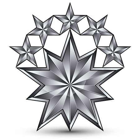 the silvery: Geometric vector classic silver element isolated on white backdrop, 3d gray decorative stars, silvery shaped blazon.