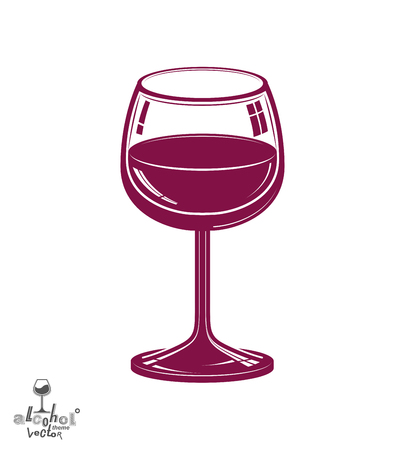 revelry: Realistic 3d wineglass, beverage theme illustration. Decorative artistic lounge object, leisure and entertainment element � party lifestyle. Illustration