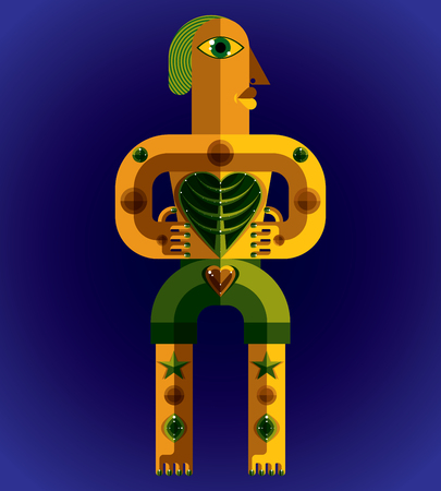 modernistic: Avant-garde avatar, colorful drawing created in cubism style. Modernistic geometric portrait, vector illustration of idol. Tree of life concept.