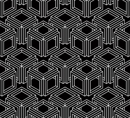 superimpose: Regular contrast endless pattern with intertwine three-dimensional figures, continuous illusory geometric background. Illustration