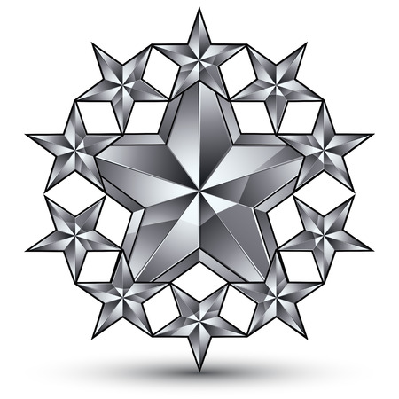 silvery: 3d vector classic rounded royal symbol, sophisticated silvery round emblem with pentagonal stars isolated on white background, glossy gray element.