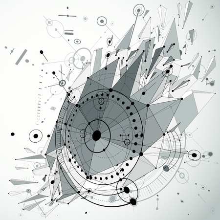 broken strategy: 3d engineering technology vector backdrop with low poly demolished object and wireframe. Gray mechanical scheme, dimensional abstract industrial design can be used as website background. Illustration