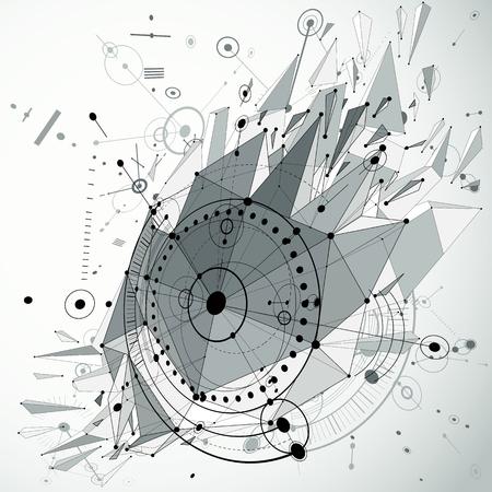 3d vectorachtergrond van de techniektechnologie met laag poly vernietigd voorwerp en wireframe. Het grijze mechanische schema, dimensionaal abstract industrieel ontwerp kan als websiteachtergrond worden gebruikt. Vector Illustratie