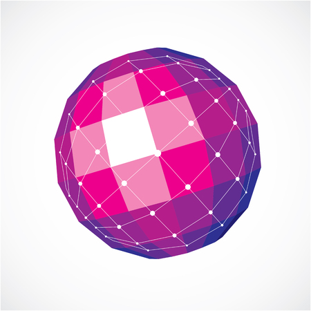 facet: Vector dimensional wireframe low poly object, spherical purple facet shape with white grid. Technology 3d mesh element made using squares for use as design form in engineering. Illustration