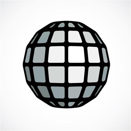 Monochrome orbe facettes créé à partir de carrés, sphère vectoriel de dimension. Faible poly géométrique élément de conception pour une utilisation dans l'ingénierie et de la technologie.