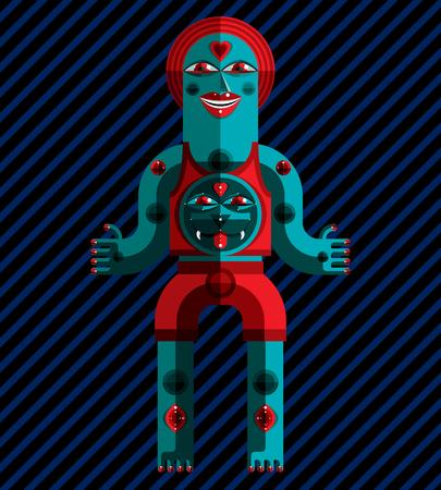 idol: Spiritual totem vector illustration, meditation theme drawing. Anthropomorphic character, cartoon beast, mystic idol isolated on art background.