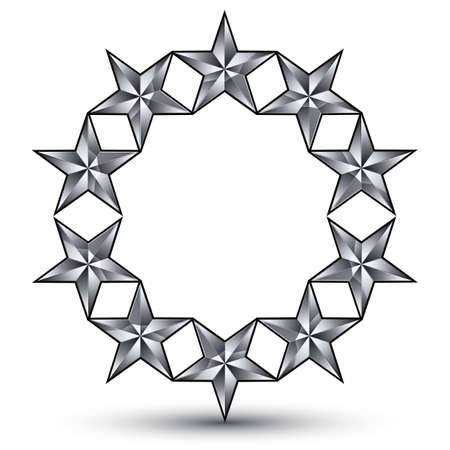 the silvery: 3d vector classic rounded royal symbol, sophisticated silvery round emblem with pentagonal stars isolated on white background, glossy gray element.