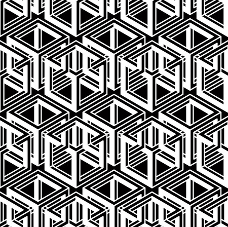 illusory: Monochrome abstract interweave geometric seamless pattern. Vector black and white illusory backdrop with three-dimensional intertwine figures. Graphic contemporary covering.