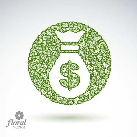 stylized banking: Money bag vector stylized icon, floral banking theme icon. Business and economics conceptual illustration.