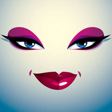 countenance: Coquette woman eyes and lips, stylish makeup. People positive facial emotions.