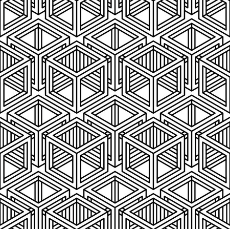 entwine: Contrast black and white symmetric seamless pattern with interweave figures. Continuous geometric composition, for use in graphic design.