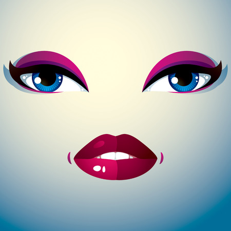 pretty eyes: Cosmetology theme image. Young pretty lady. Human eyes and lips reflecting a facial expression, sadness. Illustration