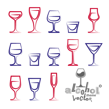glass half full: Vector glasses collection � martini, wineglass, cognac, whiskey and champagne. Celebration idea eps8 simple illustrations isolated on white background. Lounge design elements. Illustration