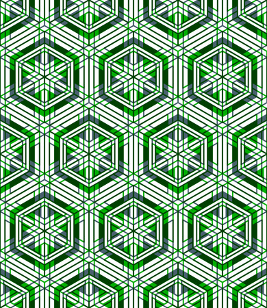 Colored abstract interweave geometric seamless pattern, EPS10. Bright illusory backdrop with three-dimensional intertwine figures. Graphic contemporary covering.