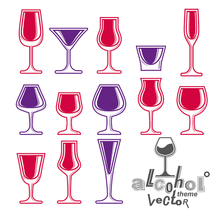 revelry: Classic vector goblets collection – martini, wineglass, cognac and whiskey. Alcohol theme illustrations. Lifestyle graphic design elements, set of simple glasses.