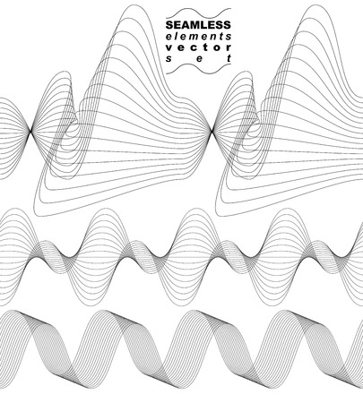 waved: Slender 3d textile motif background, set of curved stripy flowing lines, relax aerial seamless composition, sophisticated flexible design elements.