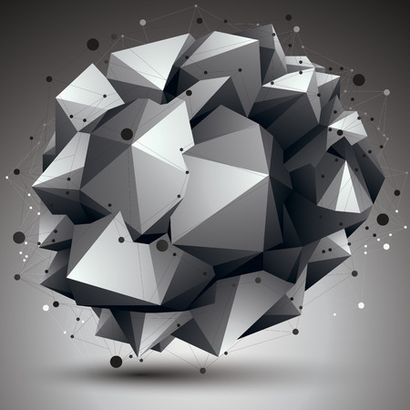 complicated: Complicated abstract grayscale 3D shape, vector digital lattice object. Technology theme.