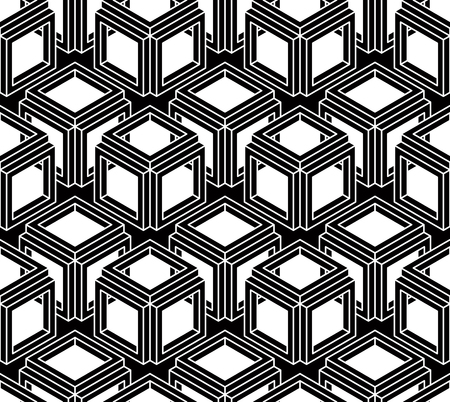 Geometric seamless pattern, endless black and white vector regular background. Abstract covering with 3d superimpose figures. Illustration
