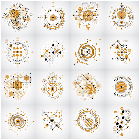 bauhaus: Bauhaus retro wallpapers, set of art vector backgrounds made using lines grid, honeycombs and circles. Graphic 1960s illustration can be used as booklets cover design. Technological patterns.