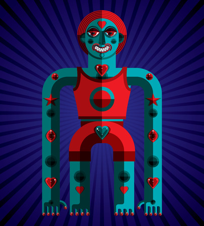 modernistic: Meditation theme vector illustration, drawing of creepy creature made in modernistic style. Spiritual idol created in cubism style. Avant-garde image. Illustration