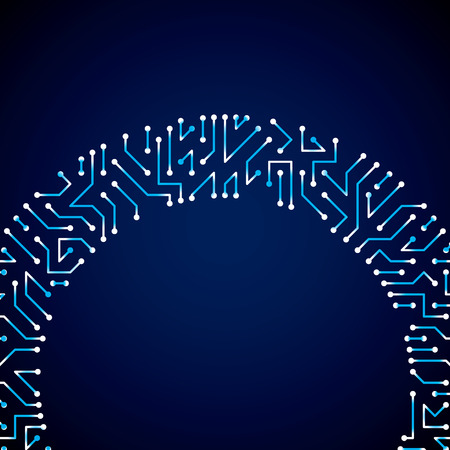 microprocessor: Vector digital technology background with circuit board elements and sparkles, neon computer scheme texture. Device component, microprocessor abstract shine illustration.