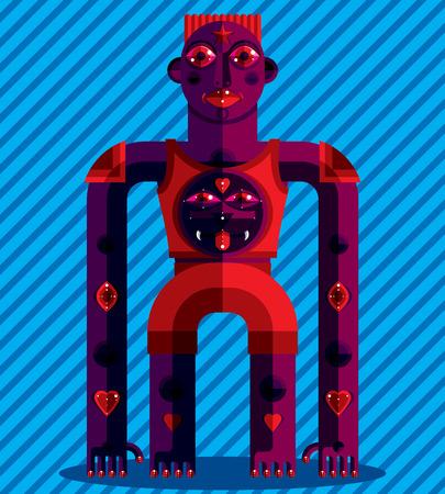 cubismo: ilustración vectorial gráfico, carácter antropomórfico aislado en el fondo de rayas, artístico avatar moderna decorativa hecha en estilo del cubismo.