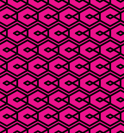 covering: Seamless pattern with intertwine rhombs, colorful infinite geometric ornament textile, abstract vector magenta covering with rhombs created from black lines. Illustration
