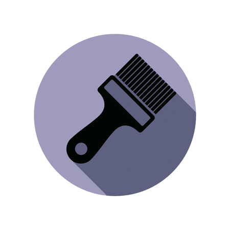 manufactory: Renovation instrument used in painting, paint brush. Classic reparation tool. Building theme vector graphic design element.