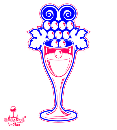 winery: Winery fantasy vector illustration. Elegant wineglass with grape vine, racemation emblem best for use in graphic and web design.